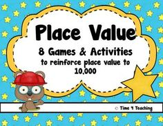 8 fun games to reinforce place value concepts to 10,000. Perfect for math centers or small groups! $