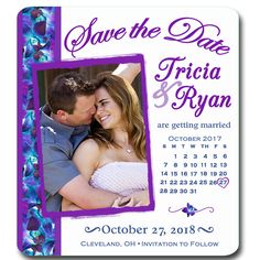 Magnet - Photo Save the Date Blue Purple Orchids, Calendar Photo Magnet, Calendar Save the Date, Orchids Save the Date, Violet Save the Date by SaveTheDateMagnets4U on Etsy