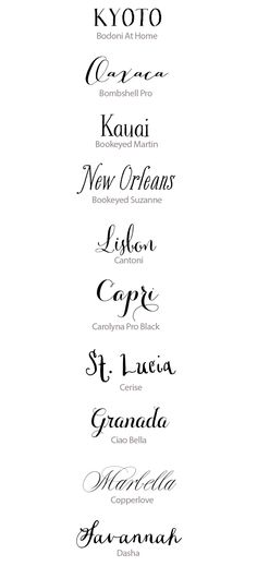 Best Calligraphy Fonts for Weddings | Snippet & Ink...beautiful fonts but a majority are WAAAYYY too expensive for my budget
