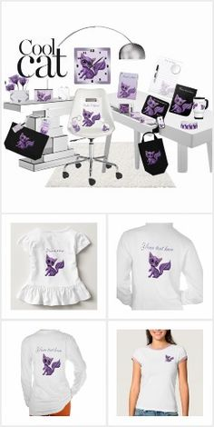 Purple Kitty Cool Cat Collection Clothing and Accessories #zazzlingfriends