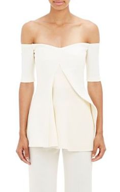 Stella McCartney Asymmetric-Flounce Sabrina Top at Barneys New York