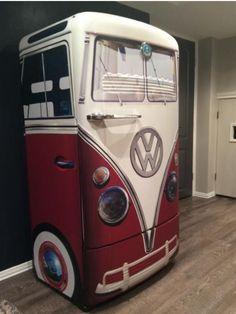 Vintage VW bus red refrigerator wrap - Home and Garden Decoration Car Part Furniture, Automotive Furniture, Funky Furniture, Furniture Makeover, Painted Furniture, Bedroom Furniture, Refrigerator Decoration, Paint Refrigerator, Refrigerator Wraps