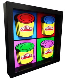 The iconic yellow Play-Doh container is featured in this Play-Doh Pop Art. Red, Blue, Green and Purple Play-doh containers are each rendered in 3D.    This papercut pop art is hand cut and hand assembled.    This 3D pop artwork makes the perfect gift for children's playrooms.    Each piece is han...