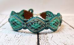Metallic Green Snakeskin Soutache Bracelet, Beaded Bracelet, Soutache Bracelet…