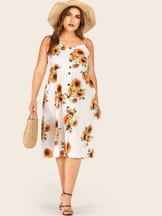 To find out about the Plus Sunflower Print Cami Dress at SHEIN, part of our latest Plus Size Dresses ready to shop online today! Wedding Dresses Plus Size, Plus Size Dresses, Plus Size Outfits, Party Dresses, Casual Skirt Outfits, Casual Dresses, Georgia, Sunflower Print, Sunflower Dress