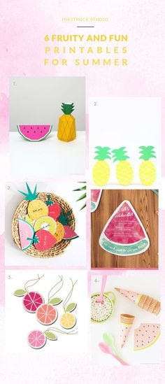 Summer inspired free fruit printables- Inkstruck Studio