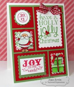 Holly Jolly Christmas Card by Joan Ervin #Christmas, #Cardmaking, #CuttingPlates