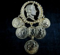 Napoleon Coin Replica Brooch Unique Gold Tone Dangle | eBay