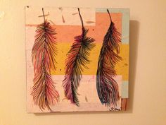 """""""Three Feathers"""" 12x12 Mixed Media on wood.  SOLD #feathers #art"""