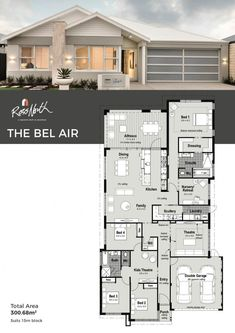 The Bel Air 😍😍greets you with a spacious and inviting home, designed for seamless and functional entertaining with family and friends. The secluded master suite wing provides a relaxing private area to enjoy and unwind in the fully appointed ensuite. House Plans For Sale, Family House Plans, Dream House Plans, Modern House Plans, Modern House Design, House Floor Plans, Casas Country, Modern Contemporary Homes, House Blueprints