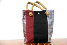 Hand bag in laminate and nautical fabric - Bolina Sail #borse #madeinitaly #vela #carbonio