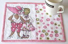 Pink White Mug Rug  Snack Mat  Quilted Mug Rug  by RedNeedleQuilts