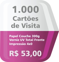 1000 Cartoes de Visita Coloridos 4x0 cores, formato 8,8x4,8cm, papel couche 300grm, apenas R$ 53,00