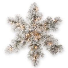 National Tree Company White 32-inch Snowy Bristle Pine Snowflake with LED Lights