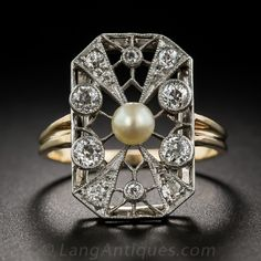 French Belle Epoch Diamond and Pearl Dinner Ring - 30-1-5198 - Lang Antiques