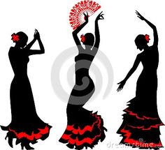 Photo about Three silhouettes of flamenco dancer with red fan. Illustration of dancer, hispanic, dress - 31591260 Flamenco Party, Flamenco Dancers, Flamenco Costume, Dance Costumes, Dancing Drawings, Art Drawings, Spanish Themed Party, Dance Silhouette, Silhouette Of Woman