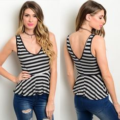 Black & White Striped Sleeveless Peplum Cut Top New with tags. Black and white striped sleeveless top featuring a v-neckline, and peplum silhouette. Available in S and M.                            95% rayon, 5% spandex.                                               Made in USA.                                                                PRICE IS FIRM UNLESS BUNDLED.                             ❌SORRY, NO TRADES. Boutique Tops Blouses