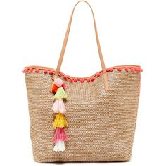 SR SQUARED BY SONDRA ROBERTS Natural Raffia Pompom Tote (€49) ❤ liked on Polyvore featuring bags, handbags, tote bags, coral, zip tote, handbags totes, white tote purse, pocket tote bag and raffia tote