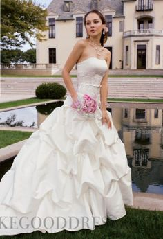 Modest Ball Gown Court Train Strapless Ruffles Wedding Dresses