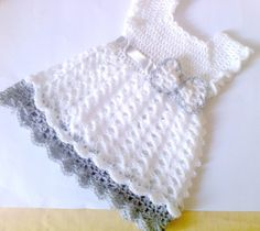 White an Gray Baby Dress, Girl Clothes,  Baby frock,baby Clothes, Crochet Infant Outfit, Infant Dress,Newborn Outfit, Holiday Baby Dress via Etsy