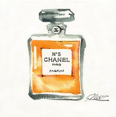 Chanel No 5 original painting by Nevena Petrova Watercolor Fashion 2bf17d557dbfa