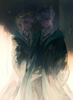 Jack and Elsa in Hogwarts. Jelsa forever!