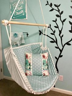 Hammock Chair Single Sided Design Reading ChairSensory - Another! Kids Hammock, Hammock Swing Chair, Swinging Chair, Bedroom Hammock, Cozy Chair, Chair Cushions, Kids Room Furniture, Living Room Chairs, Dining Chairs