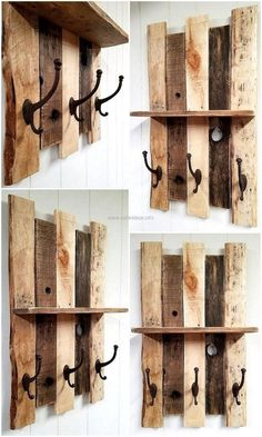 For fulfilling the hanging needs, this pallet shelf with vintage style cast iron coat hooks is great to be created for home for the impressive decoration. Pallet Home Decor, Wooden Pallet Projects, Wood Pallet Furniture, Pallet Crafts, Furniture Ideas, Diy Projects, Furniture Outlet, Pallet Ideas, Recycled Pallets