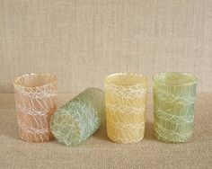 Mid-Century Roly Poly Spaghetti String Juice Glasses - Set of 4 - Excellent Condition by MyAffordableVintage on Etsy