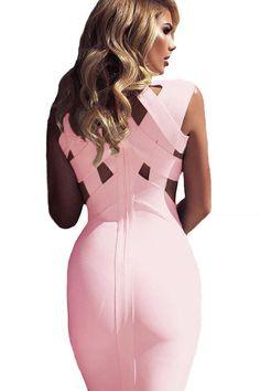Pink Cutout Sleeveless Midi Bandage Dress