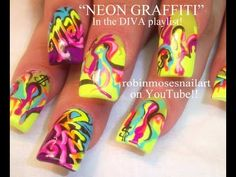 """""""neon graffiti"""" """"neon graffiti nail art"""" """"graffiti nails"""" """"rainbow nail art"""" """"flower garden nail art"""" """"spring flower nail art"""" flower graffiti nailart robin moses how to do it yourself design tutorial """"nail art"""" Neon Nail Art, Crazy Nail Art, Crazy Nails, Neon Nails, Shellac Nails, Robin Moses, Graffiti Designs, Cute Nails, Pretty Nails"""