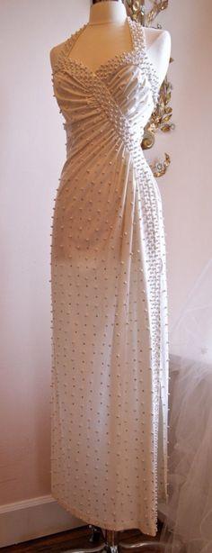 1970s Vintage Wedding Dress 70s Wedding Gown halterneck Pearls