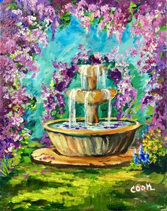 Wisteria Flowers and Fountain a special YouTube Live June 17 Saturday event. 8x10 Ginger Cook Live You/tube;