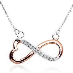 Długi naszyjnik z diamentami - rożowe złoto - Biżuteria srebrna dla każdego tania w sklepie internetowym Silvea #diamenty #silvea #naszyjniksrebrny
