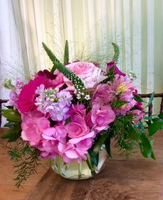 Pink center piece with veronica flowers