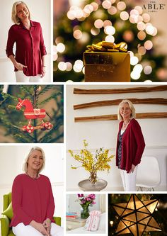 The Able Label red Christmas day outfits. Imogen shirt, molly cardi and stella top.