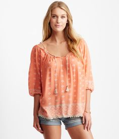 Medallion V-Notch Cold-Shoulder Peasant Top