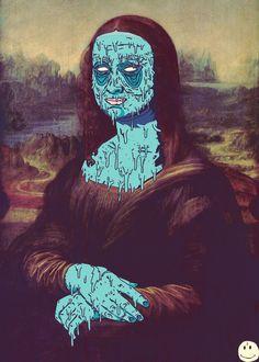 zombified Mona Lisa in blue Wallpaper Cars, Arte Hip Hop, Dope Art, Urban Art, Digital Illustration, Illustration Styles, Art History, Art Inspo, Fantasy Art