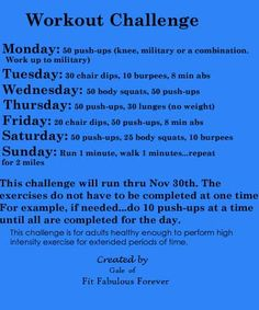 Monthly workout challenges. I think I need to start with the beginners...
