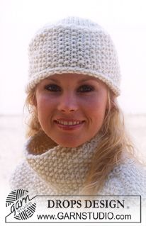 DROPS pullover with seed stitch and hat in Eskimo Knitting Patterns Free, Free Knitting, Free Pattern, Easy Knit Hat, Knitted Hats, Crochet Poncho, Crochet Hats, Magazine Drops, Drops Design