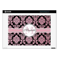 Rose Gold glitter damask on black Name & Monogram Acer Chromebook Decal - pink gifts style ideas cyo unique