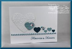 Embossed Hearts valentines card