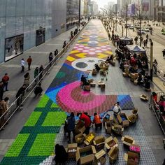 """The IFS Shopping Center of Chengdu, China commissioned design group Craig & Carl to fabricate the """"world's largest candy carpet"""" along an expansive downtown sidewalk. LQC has never been so sweet! #Placemaking #LQC #Kids"""