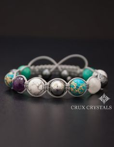 Del Mar Women's Shamballa Gemstone Beaded Bracelet by CruxCrystals
