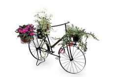 """Deko-Pflanzen """"Fahrrad"""". In 4 Körbe können Töpfe mit Pflanzen eingesetzt werden. Ob hängende oder rankende, blühende oder grünende Fauna - das Metallrad ist die ideale Kulisse für wachsende Arrangements! ca. 130 x 84 cm"""