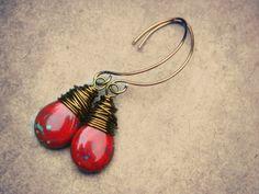 Drop Earrings  Red Czech Picasso Teardrop Jewelry by gabeadz