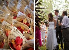 rose petal confetti in sheet music cones...easy and lovely