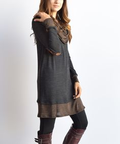 Look what I found on #zulily! Dark Gray Elbow Patch Cowl Neck Tunic by éloges #zulilyfinds this is too cute
