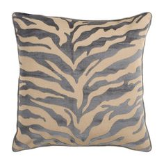 Zebra Pillow in Gray.