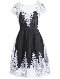 Retro Style Lace Square Neck Short Sleeve Dress